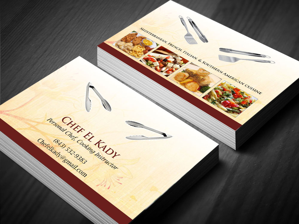 Elegant playful business business card design for personal chef by business card design by poonam gupta for personal chef design 7816685 colourmoves