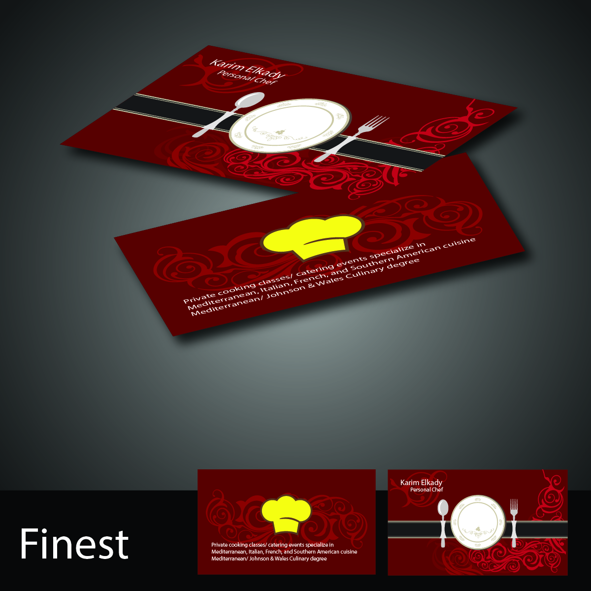 Elegant playful business business card design for personal chef by business card design by finest for personal chef design 7854109 colourmoves