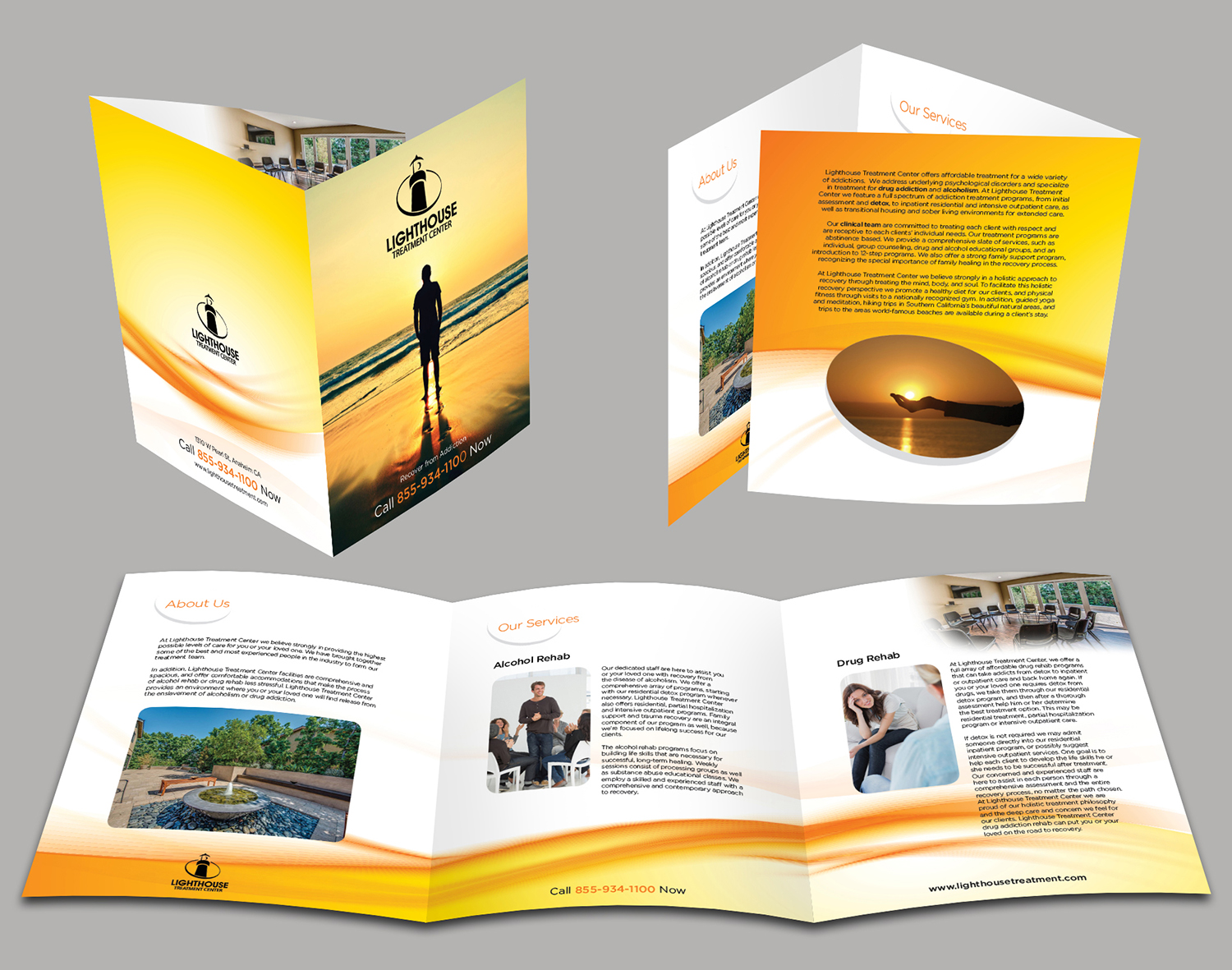 graphic design brochures - modern professional health and wellness brochure design