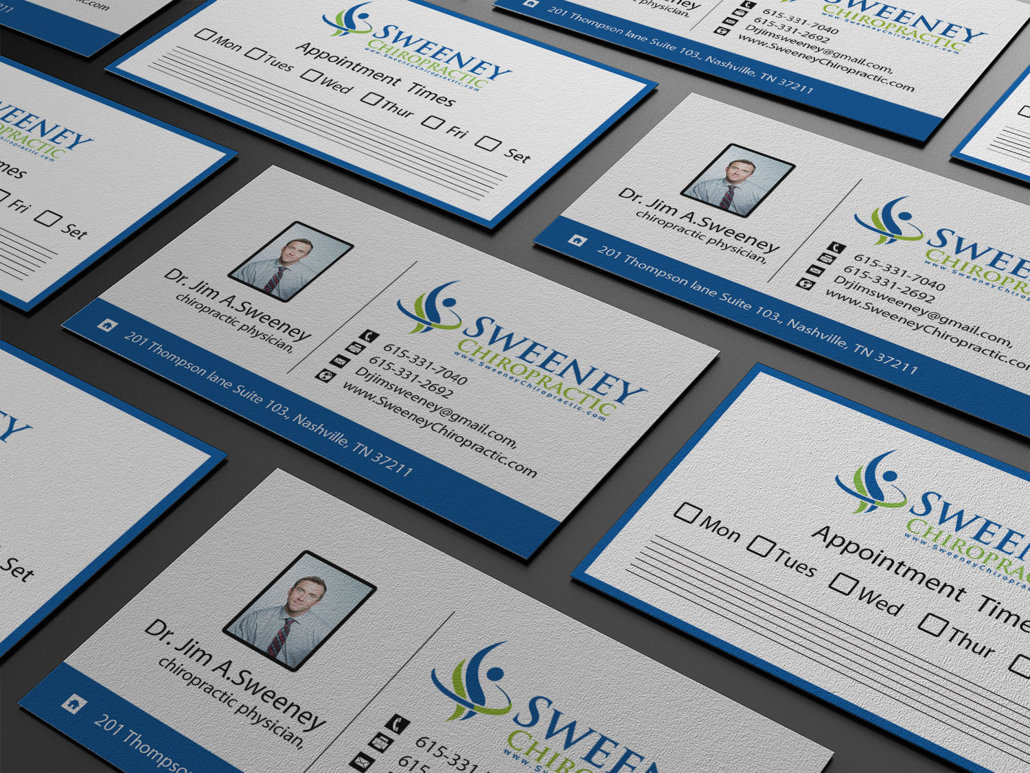 Playful, Professional Business Card Design for Sweeney Chiropractic ...