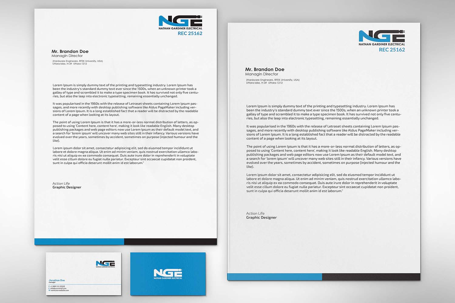 Modern professional electrical letterhead design for nathan letterhead design by zillurrahman800 for nathan gardiner electrical design 7695342 altavistaventures Image collections