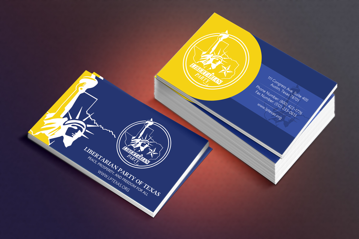 Bold modern political business card design for libertarian party bold modern political business card design for libertarian party of texas in united states design 7691405 colourmoves