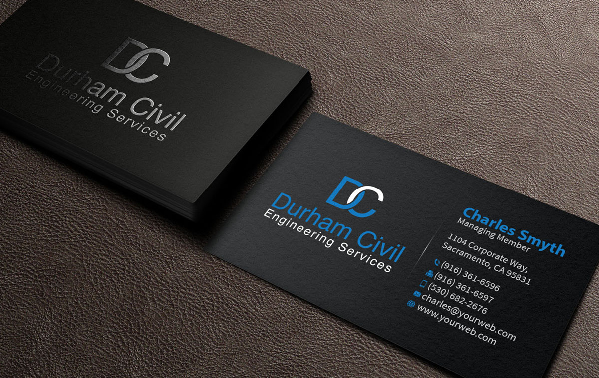 Professional bold business card design for durham civil engineering business card design by mediaproductionart for business card design for contracting design 7715554 reheart Gallery