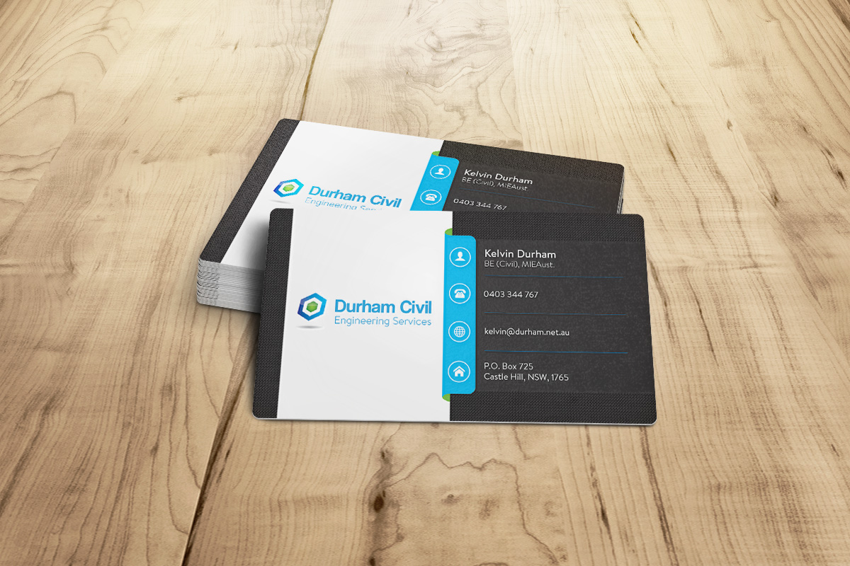 professional bold business card design for durham civil