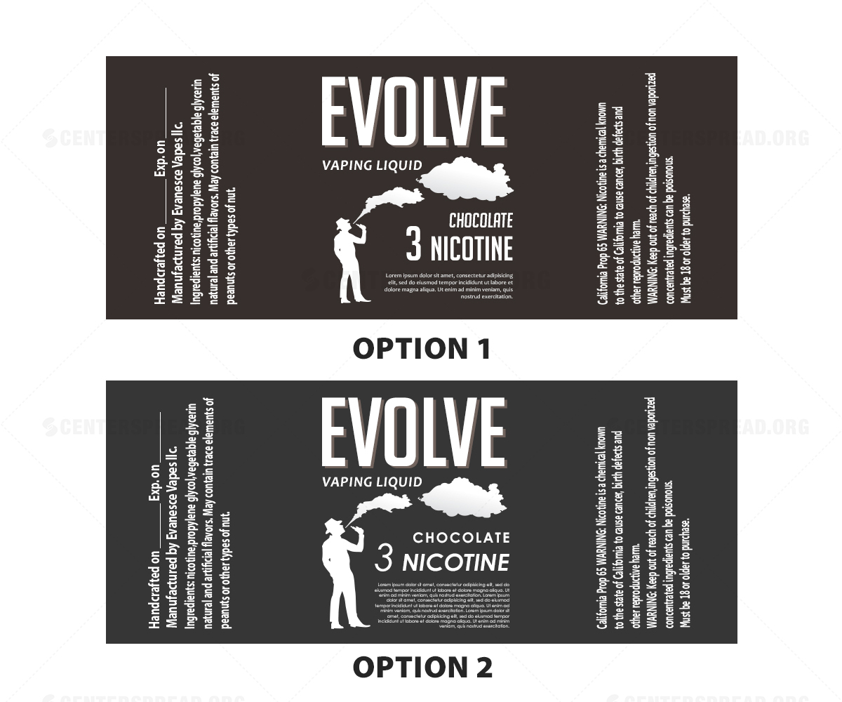 Label Design By CENTERSPREAD For Evanesce Vapes