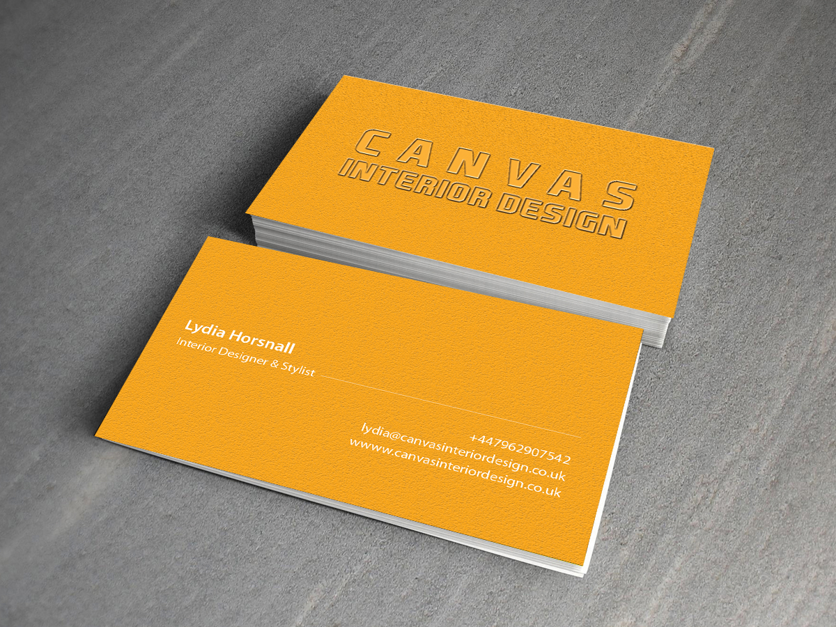 Bold upmarket business business card design for canvas interior design by creations box 2015 for Interior designers business cards