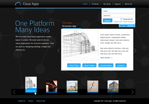 Web Design job – Homepage design for site providing cloud based engineering applications – Winning design by Fielding Ideas