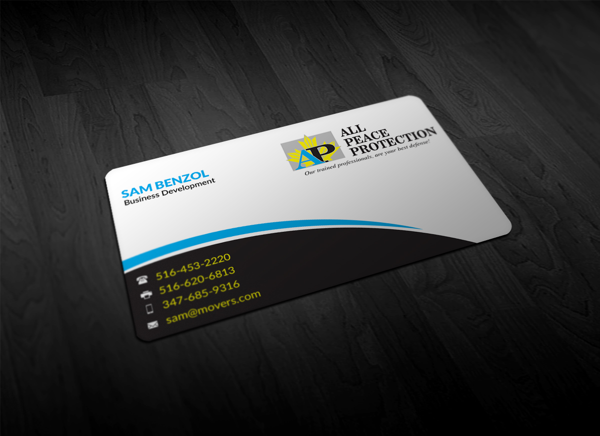 Professional, Serious Business Card Design for All Peace Protection ...