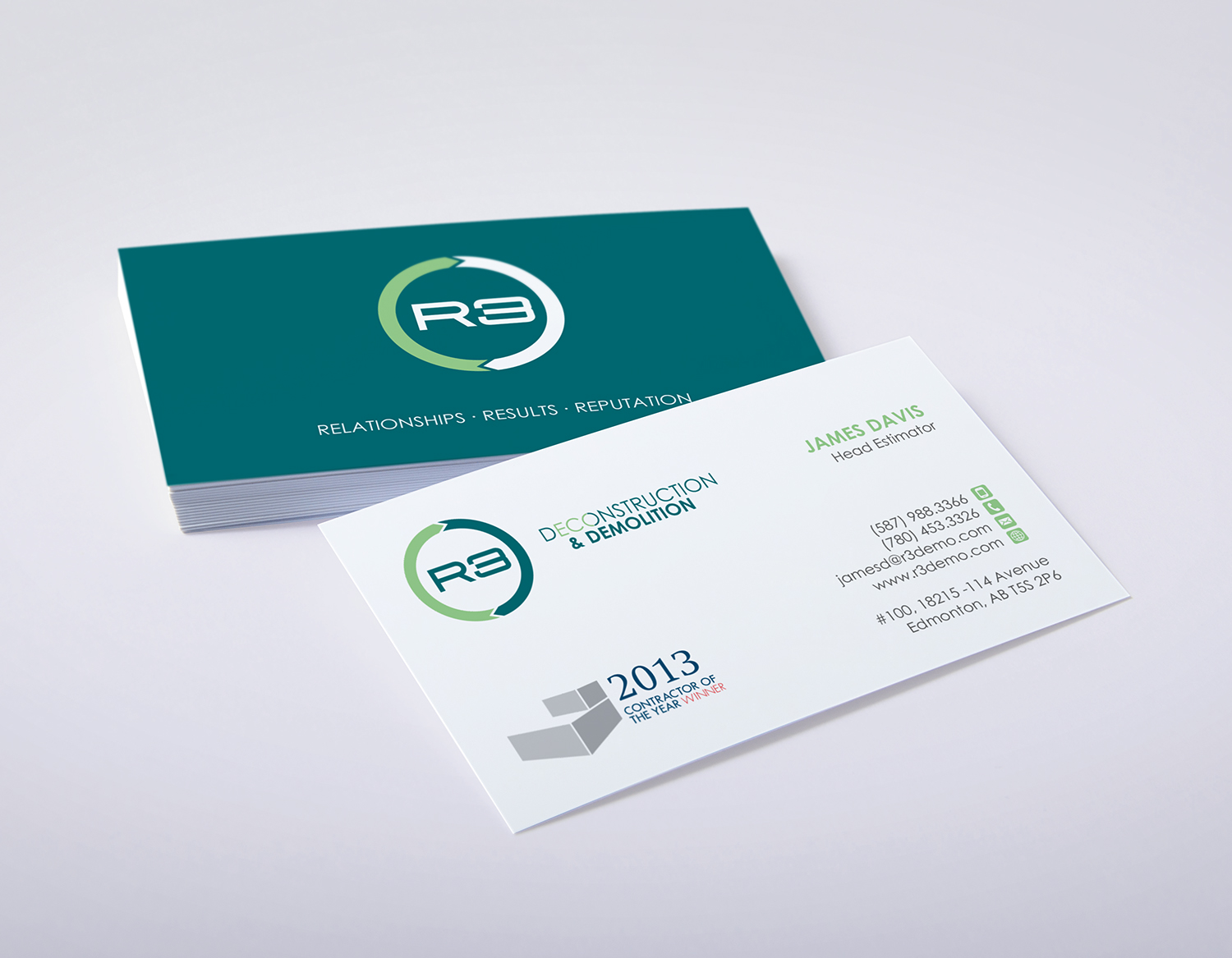 Modern bold construction company business card design for r3 business card design by logodentity for r3 deconstruction design 7821550 reheart Choice Image