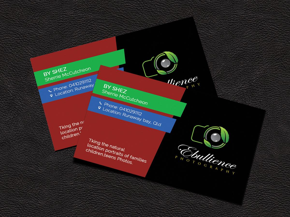 Business Card Design By Sandaruwan For Ebullience Photography Shez