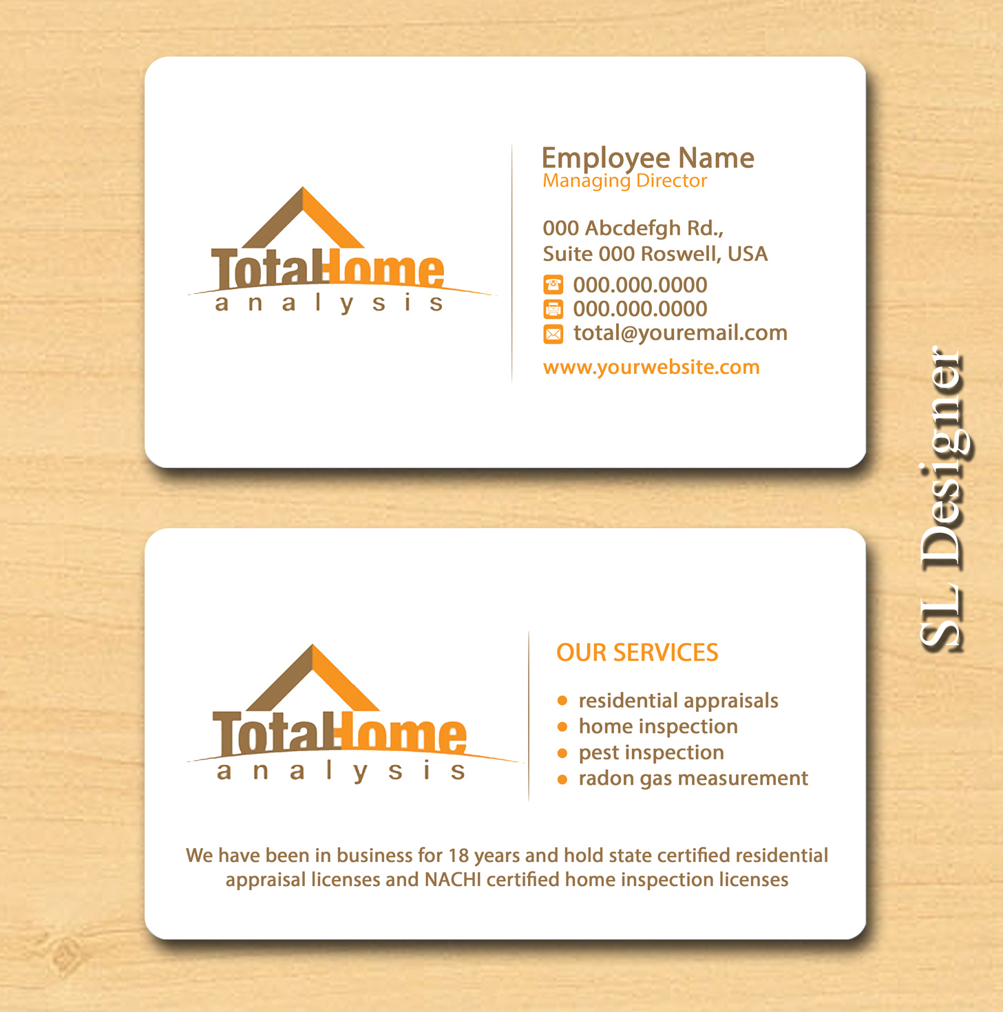 Business business card design for total home analysis by sl designer business business card design for total home analysis in united states design 7880649 colourmoves