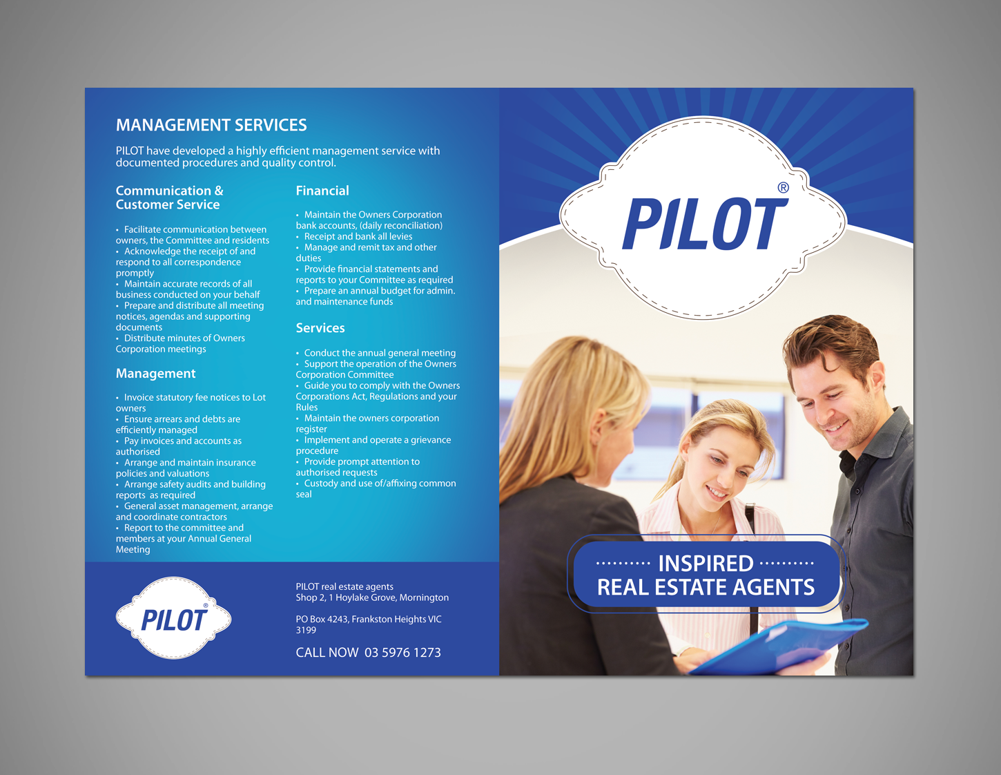 modern bold property management brochure design for pacific