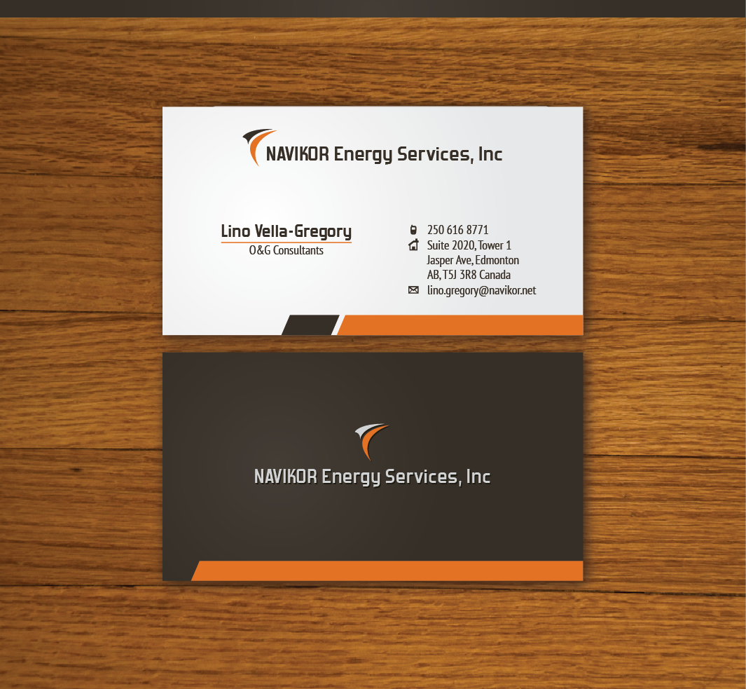 Serious, Professional Business Card Design for Navikor Energy ...