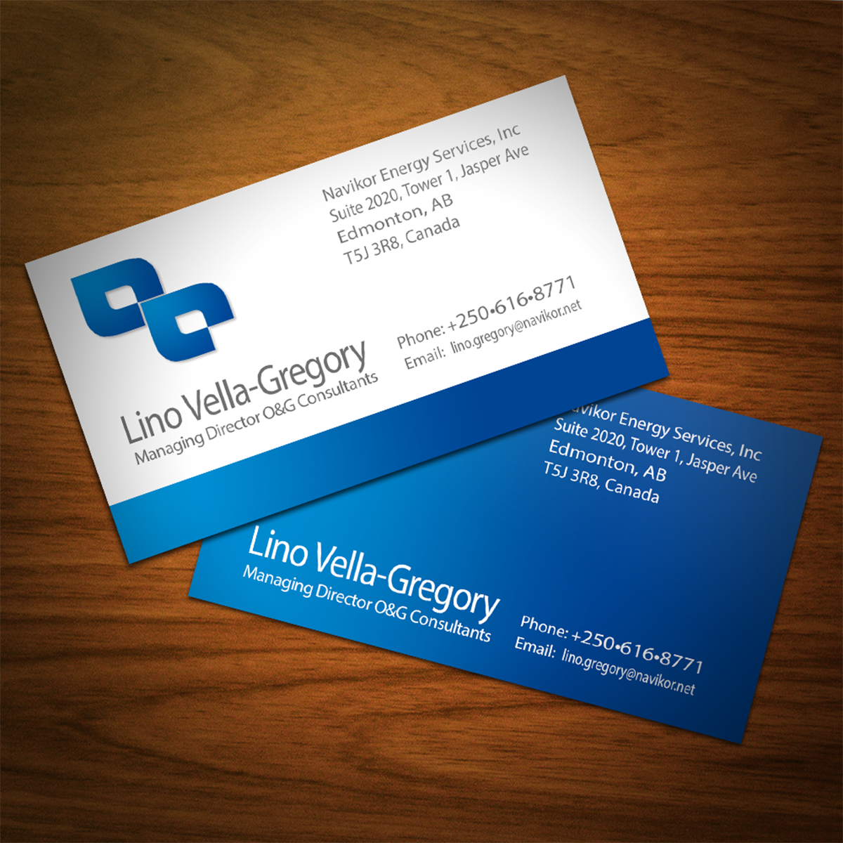 serious professional business card design for navikor energy