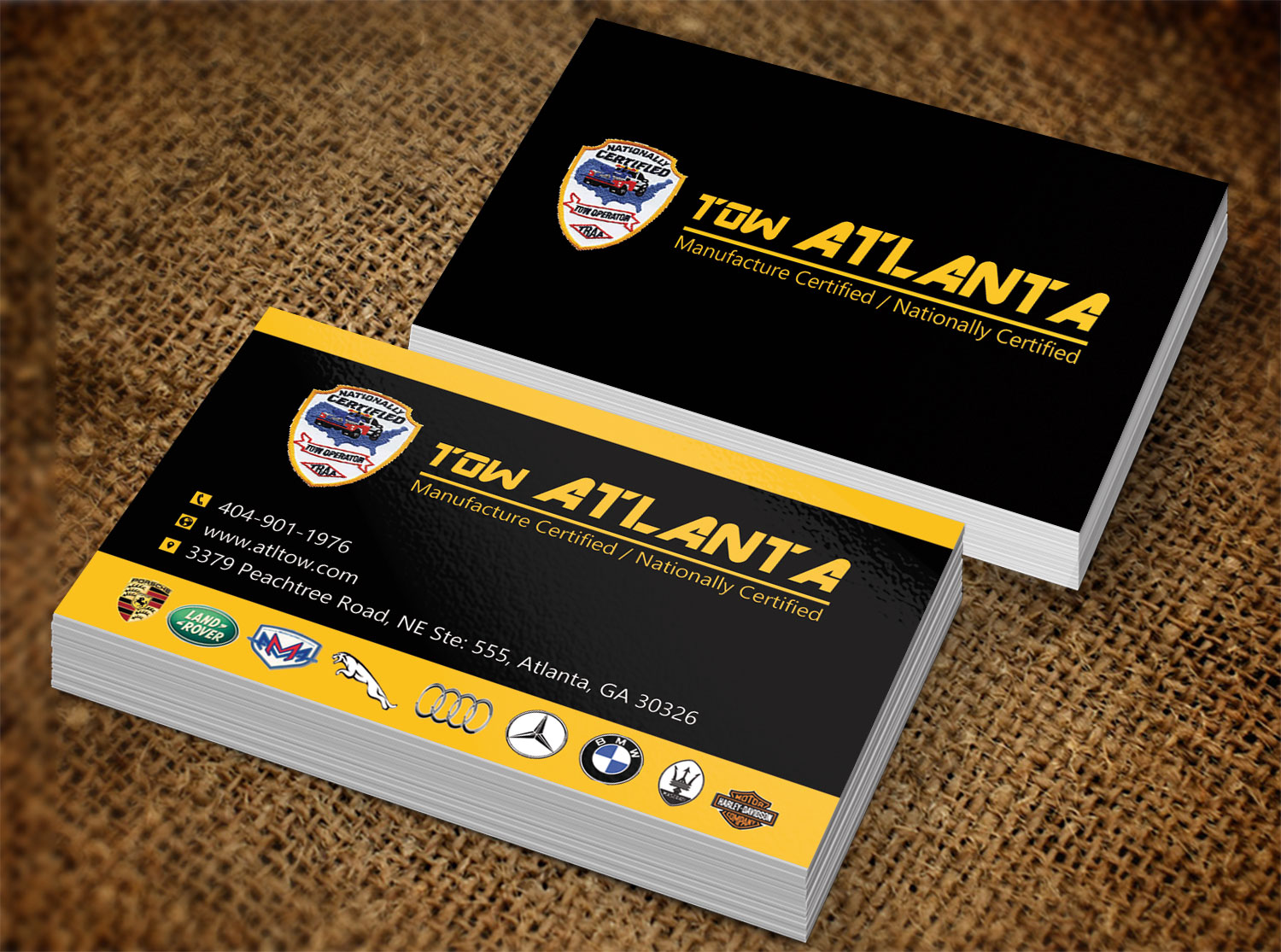 Serious Conservative Business Business Card Design For Tow Atlanta