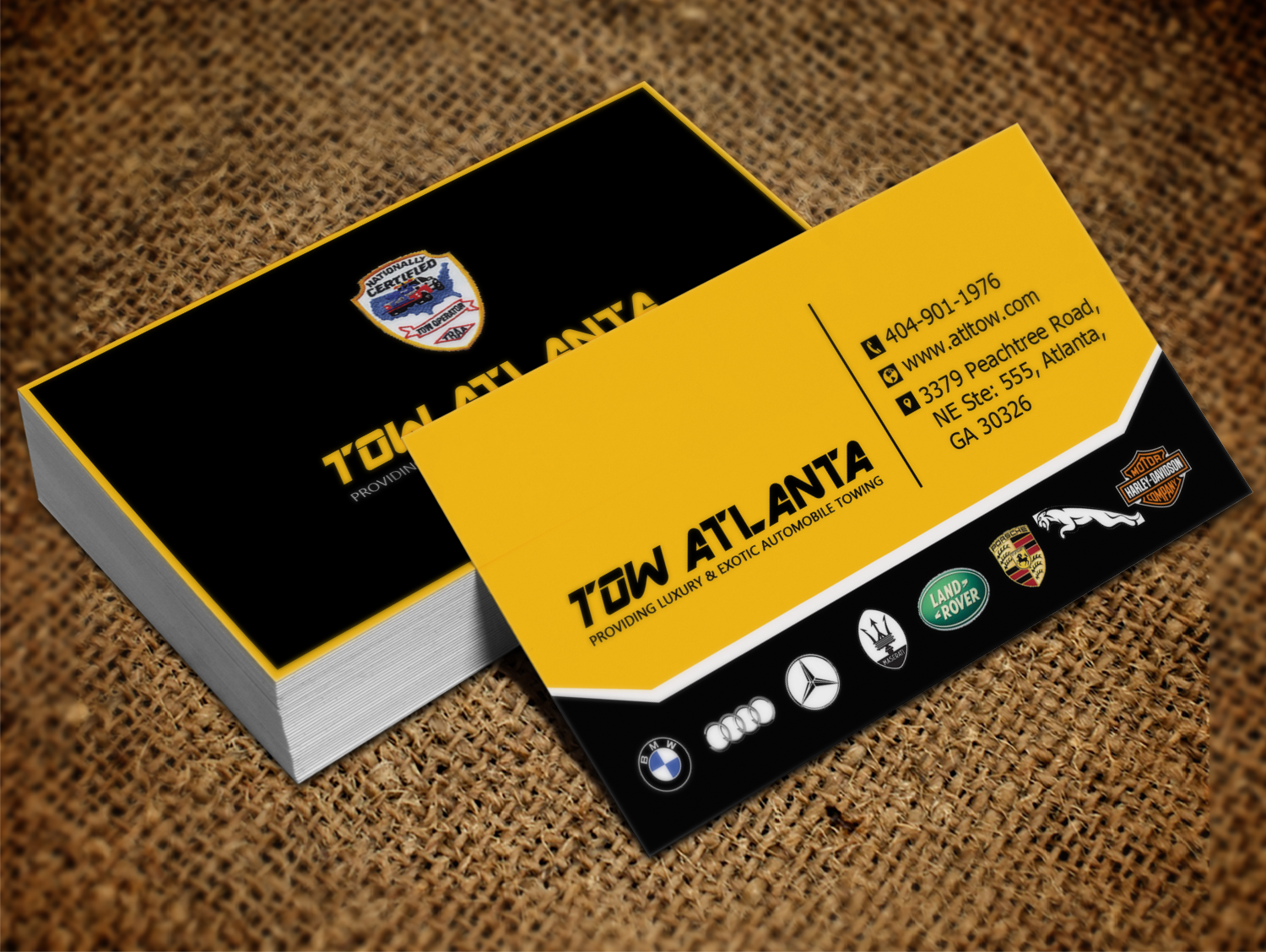 Serious, Conservative Business Card Design for Tow Atlanta by Lanka ...