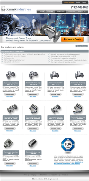 Web Design by amberegg - New website design for a steam trap company