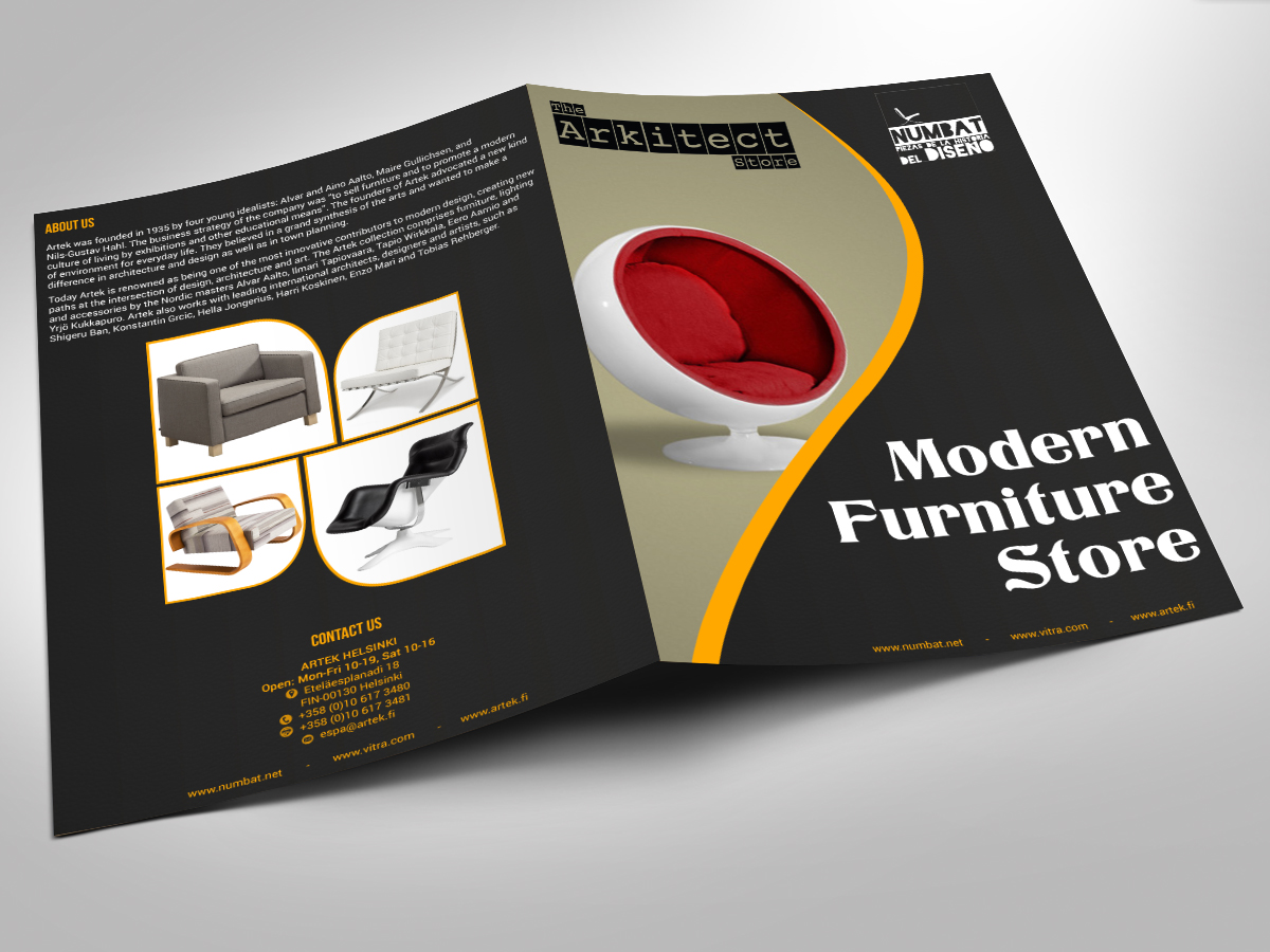 Conservative upmarket catalogue design for nelson riofrio for Furniture catalogue