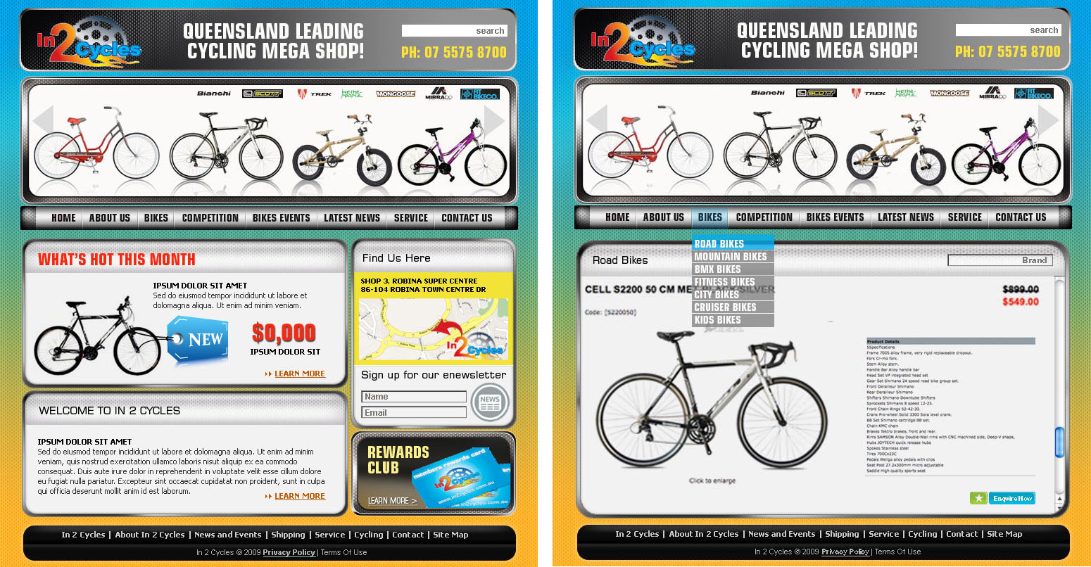 Web Design job – Bike Store – Winning design by Urban Ad