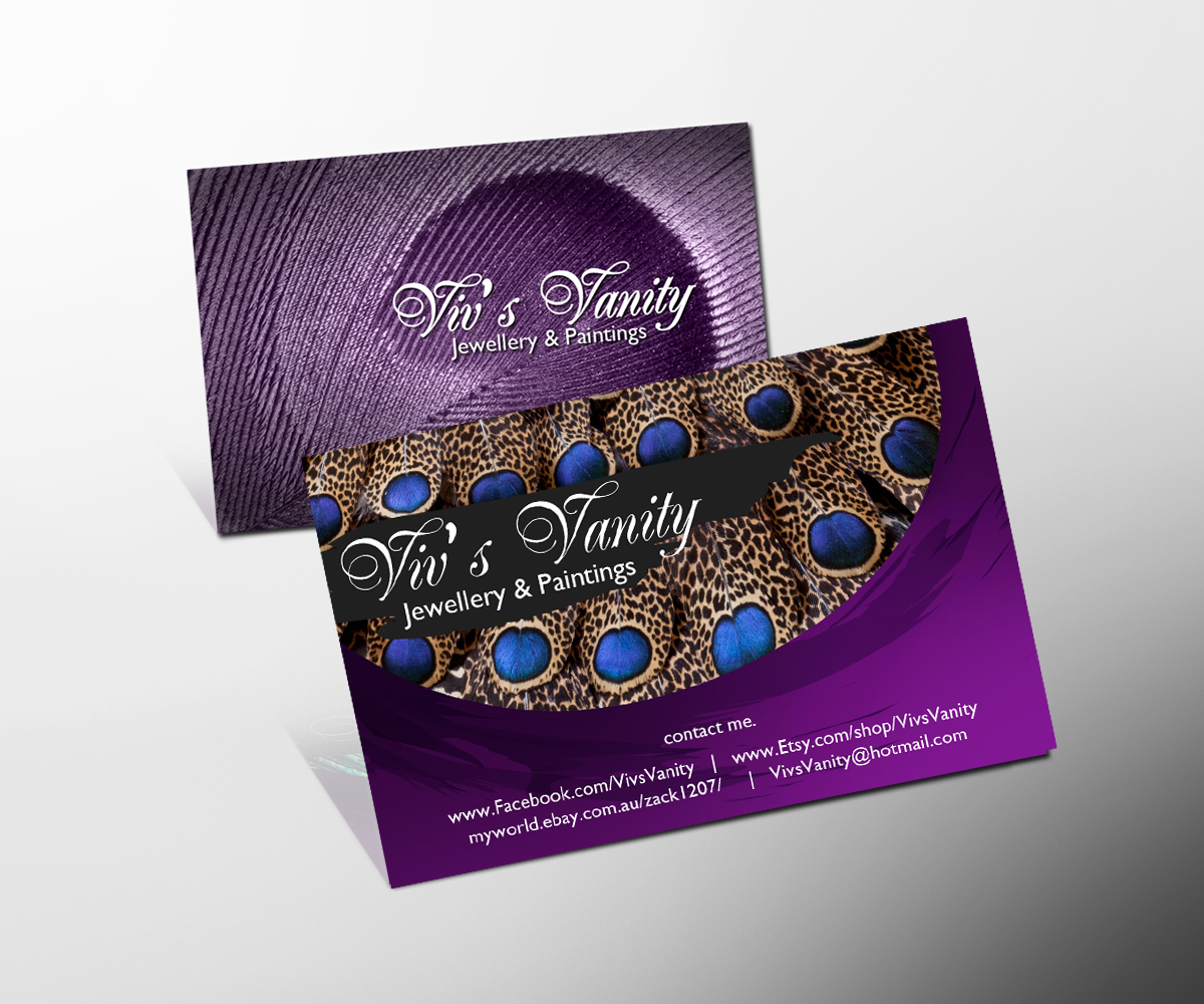Business Card Design for Viv\'s Vanity Jewellery & Paintings by ...