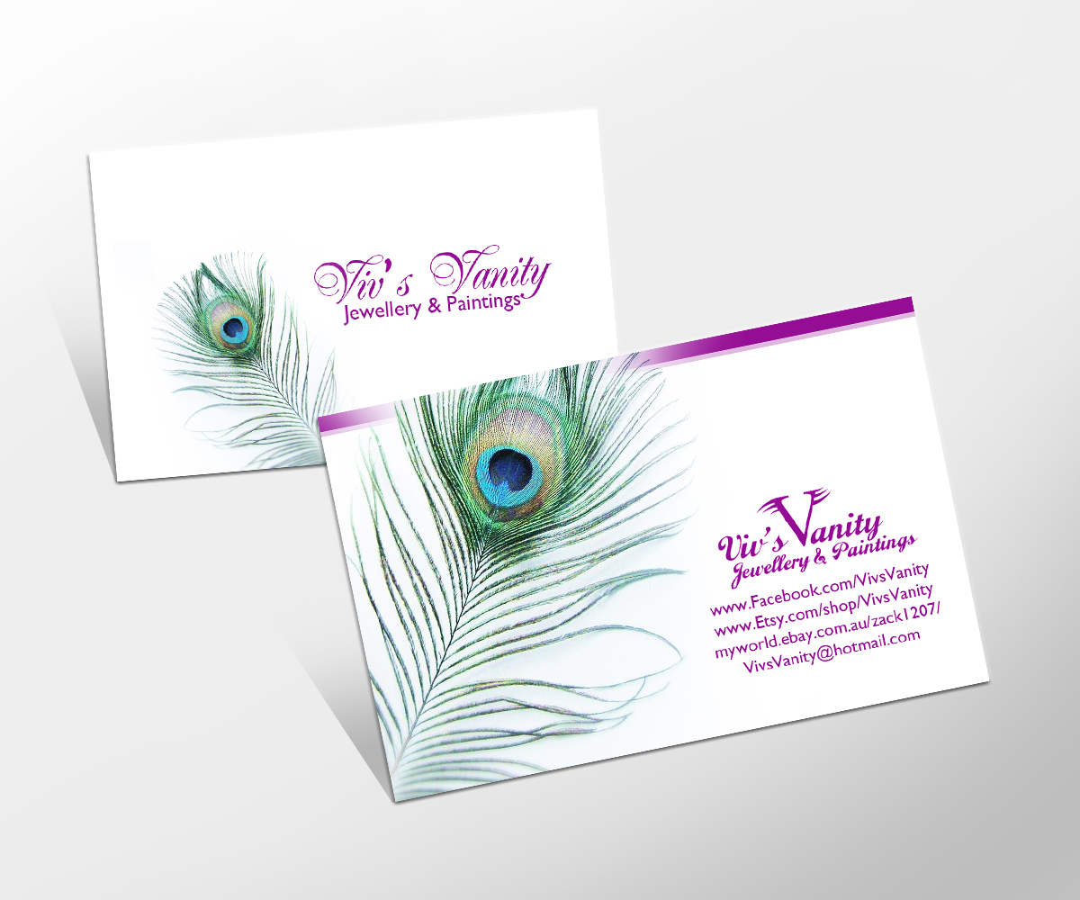 Business Card Design for Viv\'s Vanity Jewellery & Paintings by Danny ...