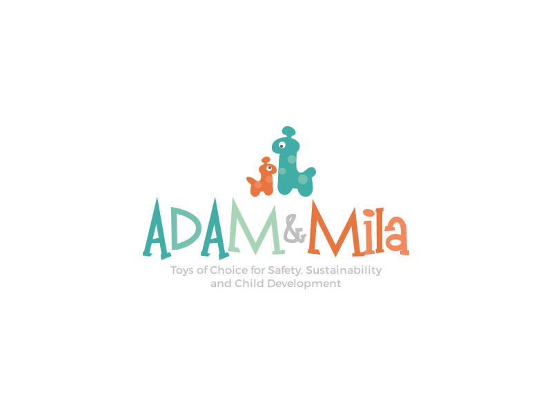 bold playful toy store logo design for adam amp mila by