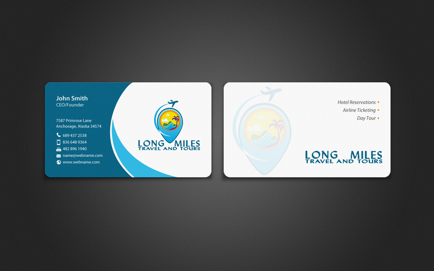 Tours And Travel Business Card Templates