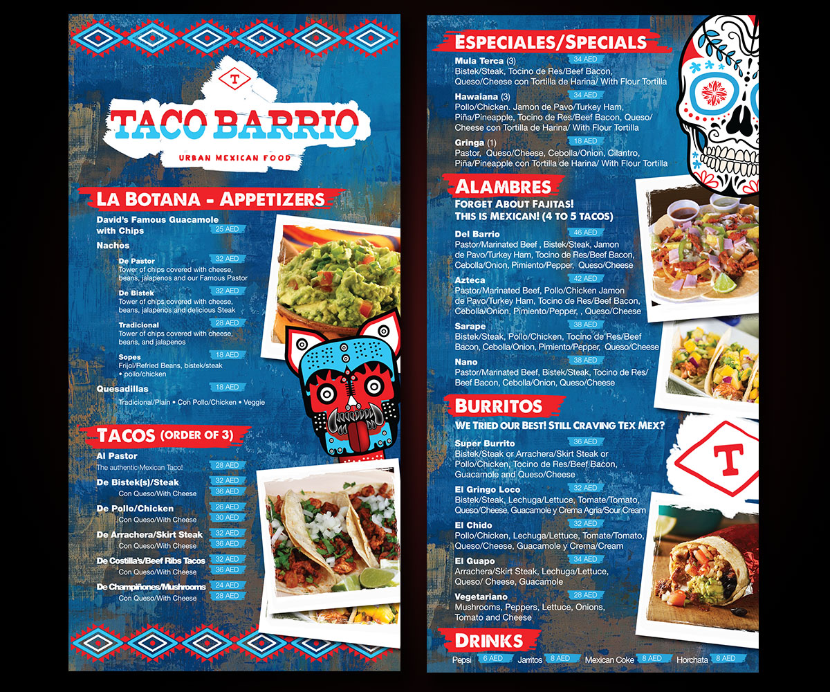 25 bold menu designs | mexican restaurant menu design project for a