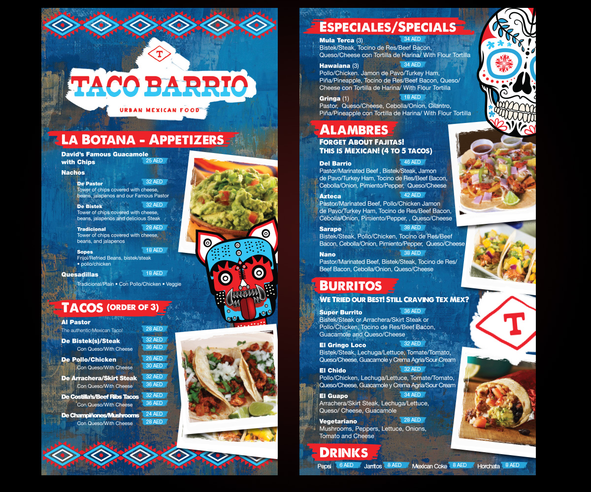 bold, playful, mexican restaurant menu design for a company by