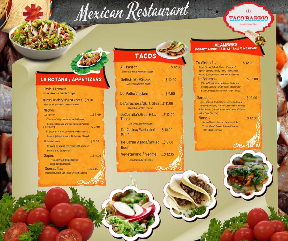 Bold playful mexican restaurant menu design for a