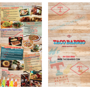 bold playful mexican restaurant menu design for a company by
