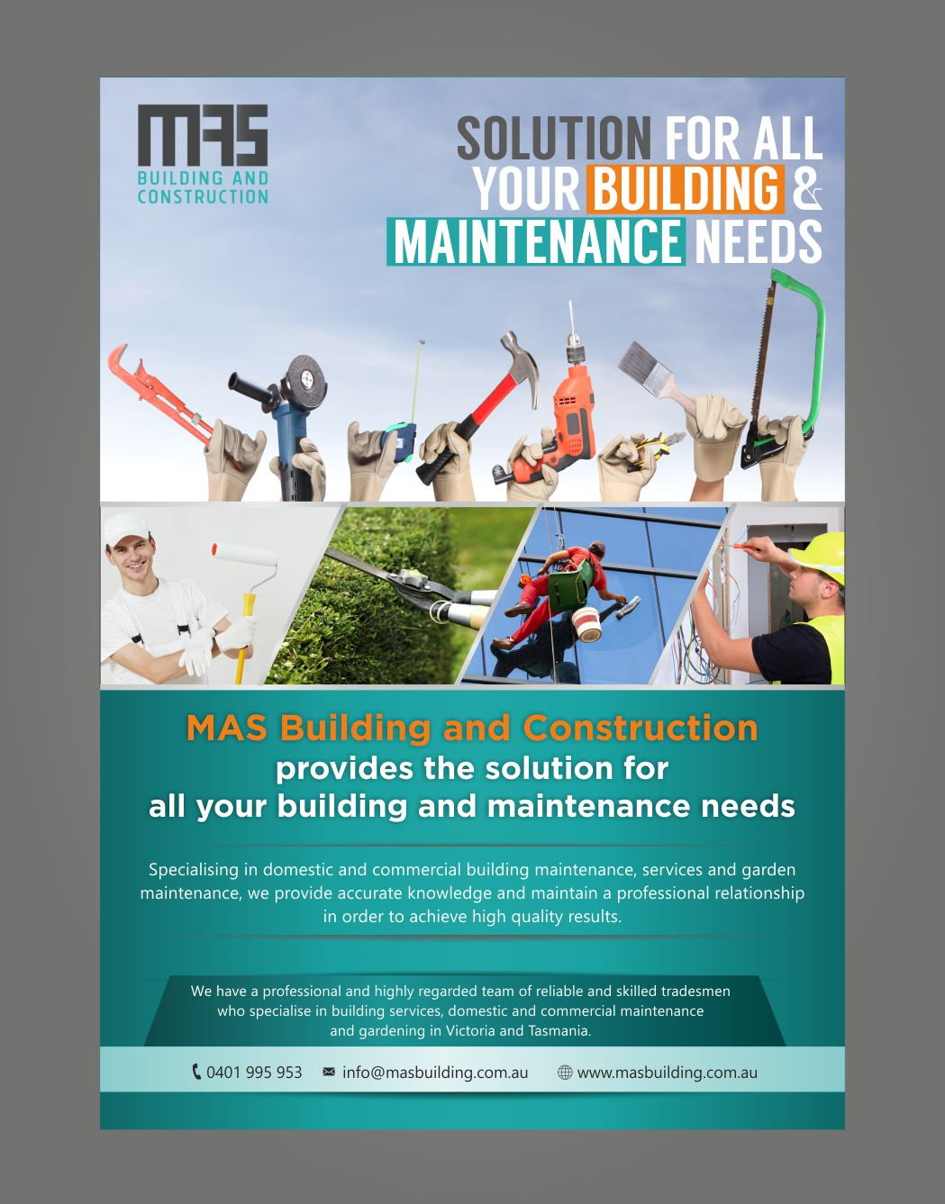 Building Maintenance Companies : Modern personable flyer design for mas building and