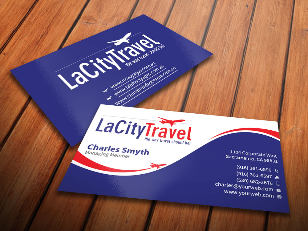 Modern professional travel agent business card design for lacity business card design by mediaproductionart for lacity travel australia design 8004681 colourmoves