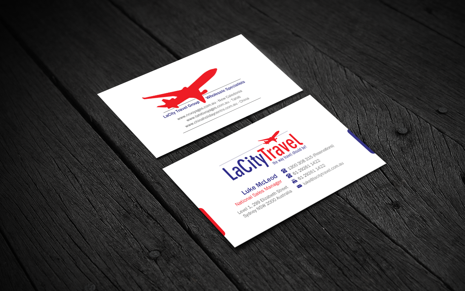 Modern professional travel agent business card design for lacity business card design by brand aid for lacity travel australia design 8016833 reheart Images