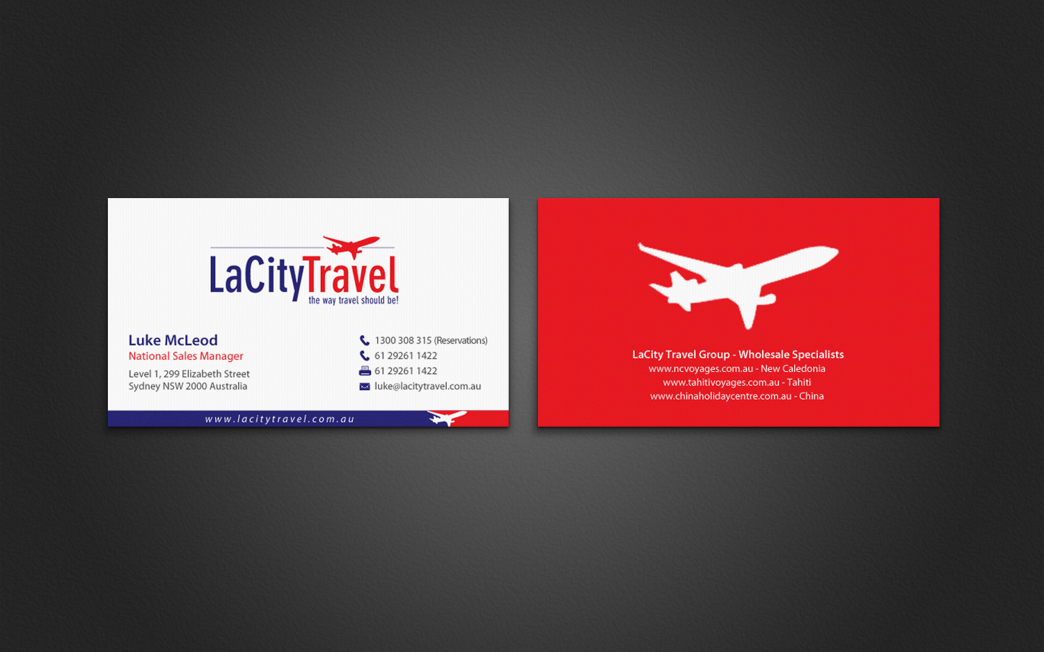 Modern professional travel agent business card design for lacity business card design by chandrayaaneative for lacity travel australia design 8016656 colourmoves