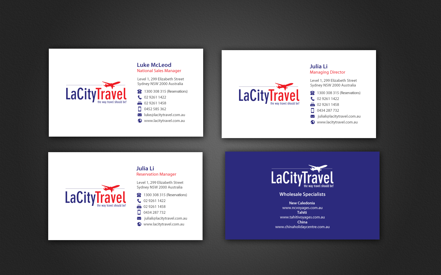 Modern professional travel agent business card design for lacity business card design by chandrayaaneative for lacity travel australia design 9264852 colourmoves