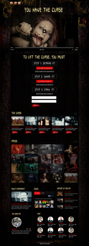 Amazing scary HORROR MOVIE WEBSITE   35 Web Designs for