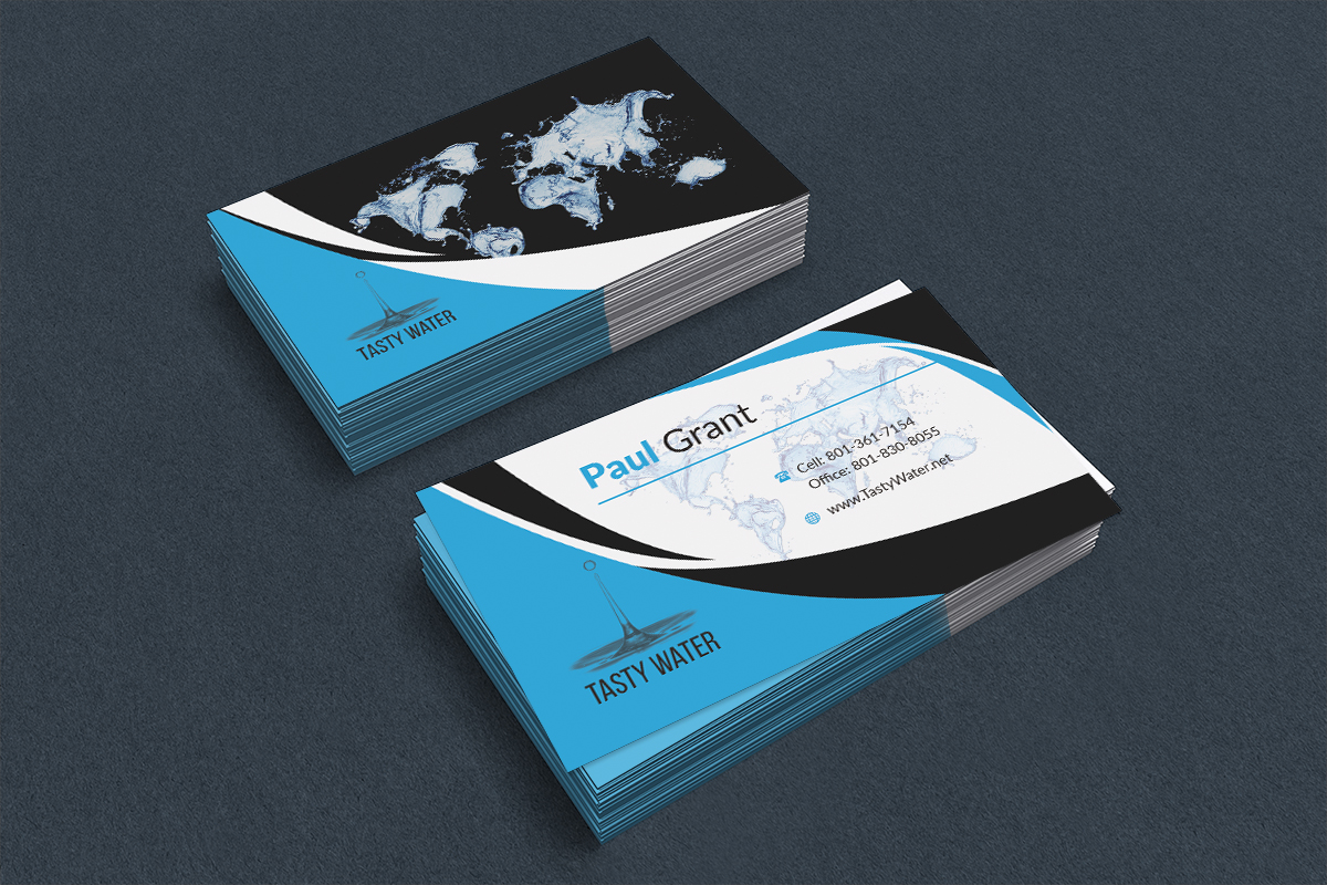 Professional upmarket business card design for paul grant by king business card design by king usa for tasty water card design project design 8206151 colourmoves Images