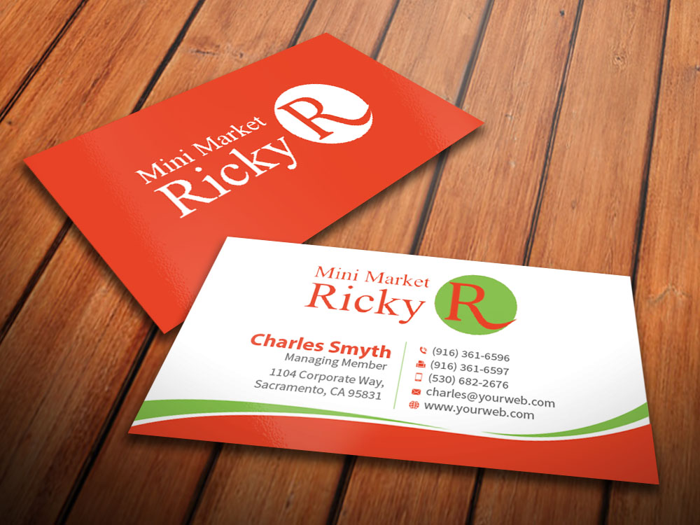 Upmarket serious grocery store business card design for mini business card design by mediaproductionart for mini market ricky design 8413470 colourmoves