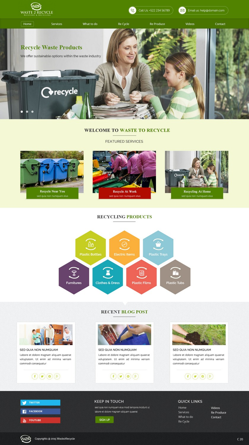 Serious, Modern, Waste Management Web Design for Waste 2 Recycle by