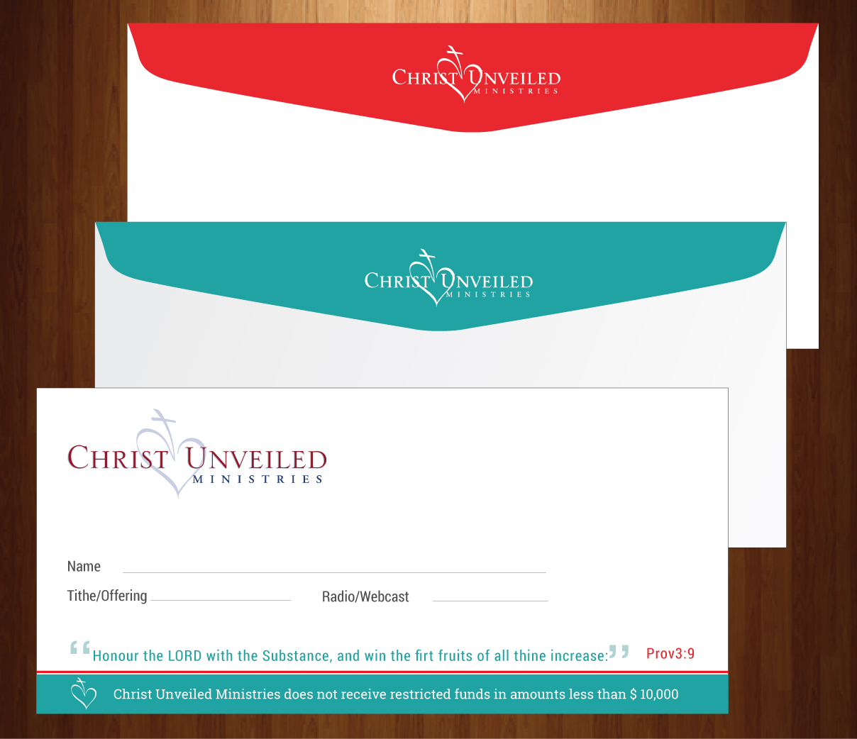 bold modern church envelope design for a company by harmi 199