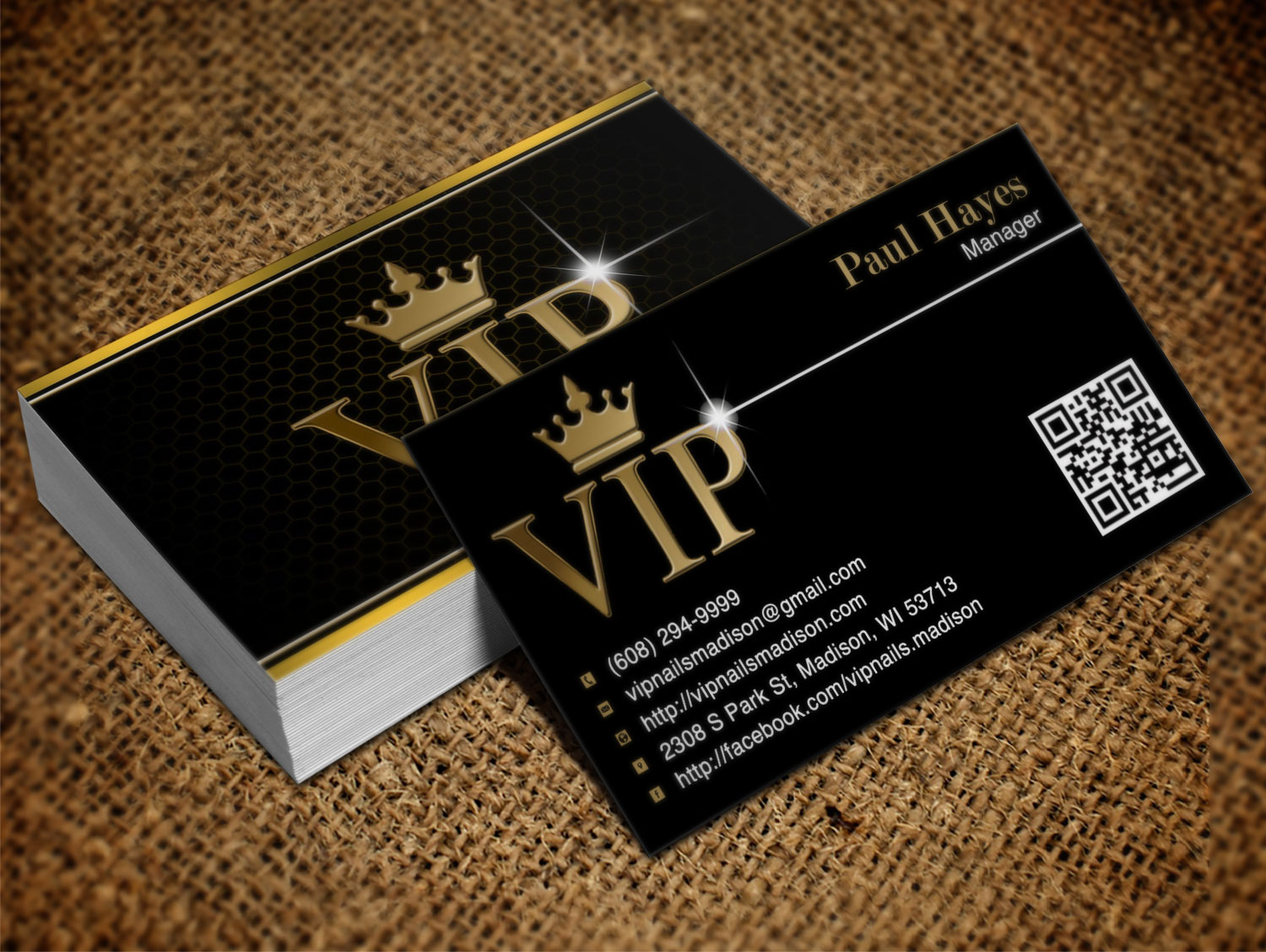 Elegant, Playful, Business Business Card Design for VIP Nails & Spa ...