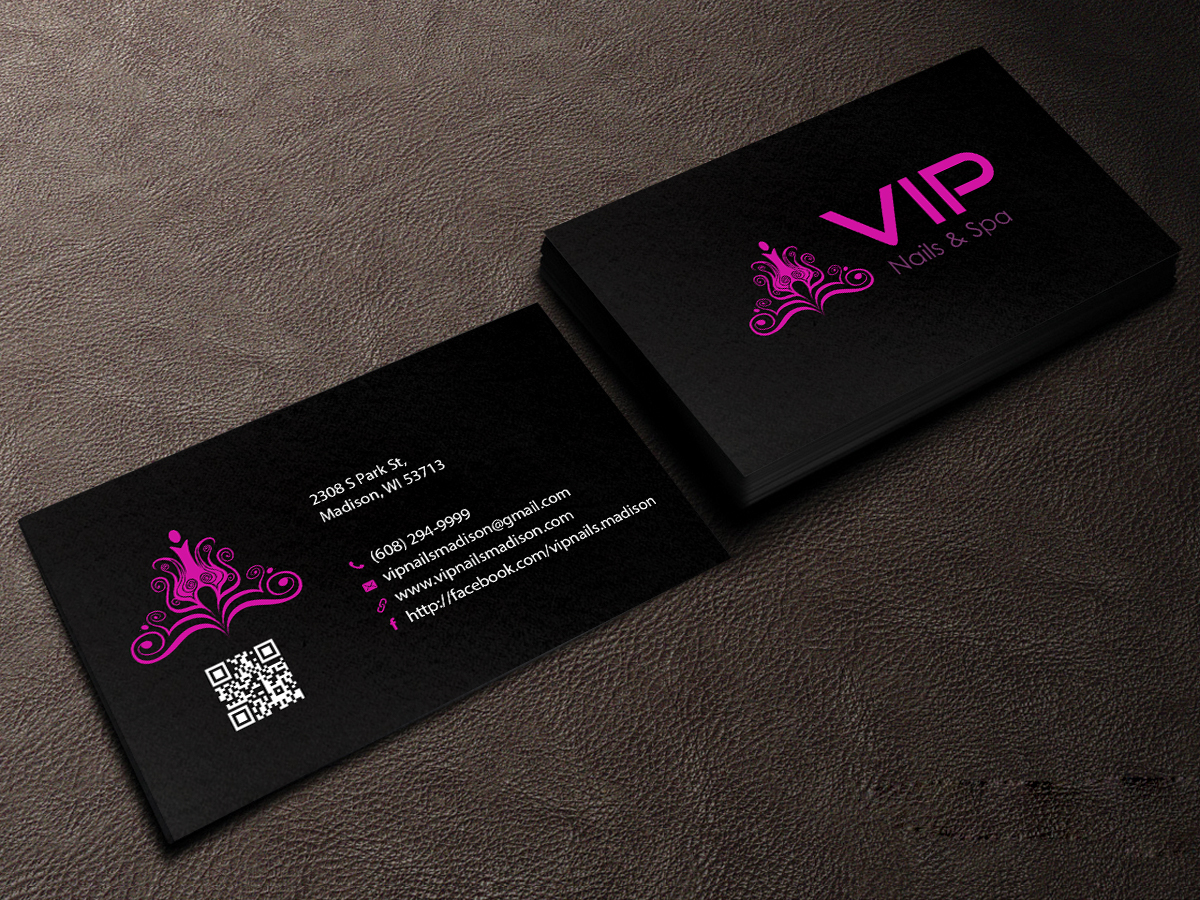 Elegant playful business card design for vip nails spa for Nails business cards design