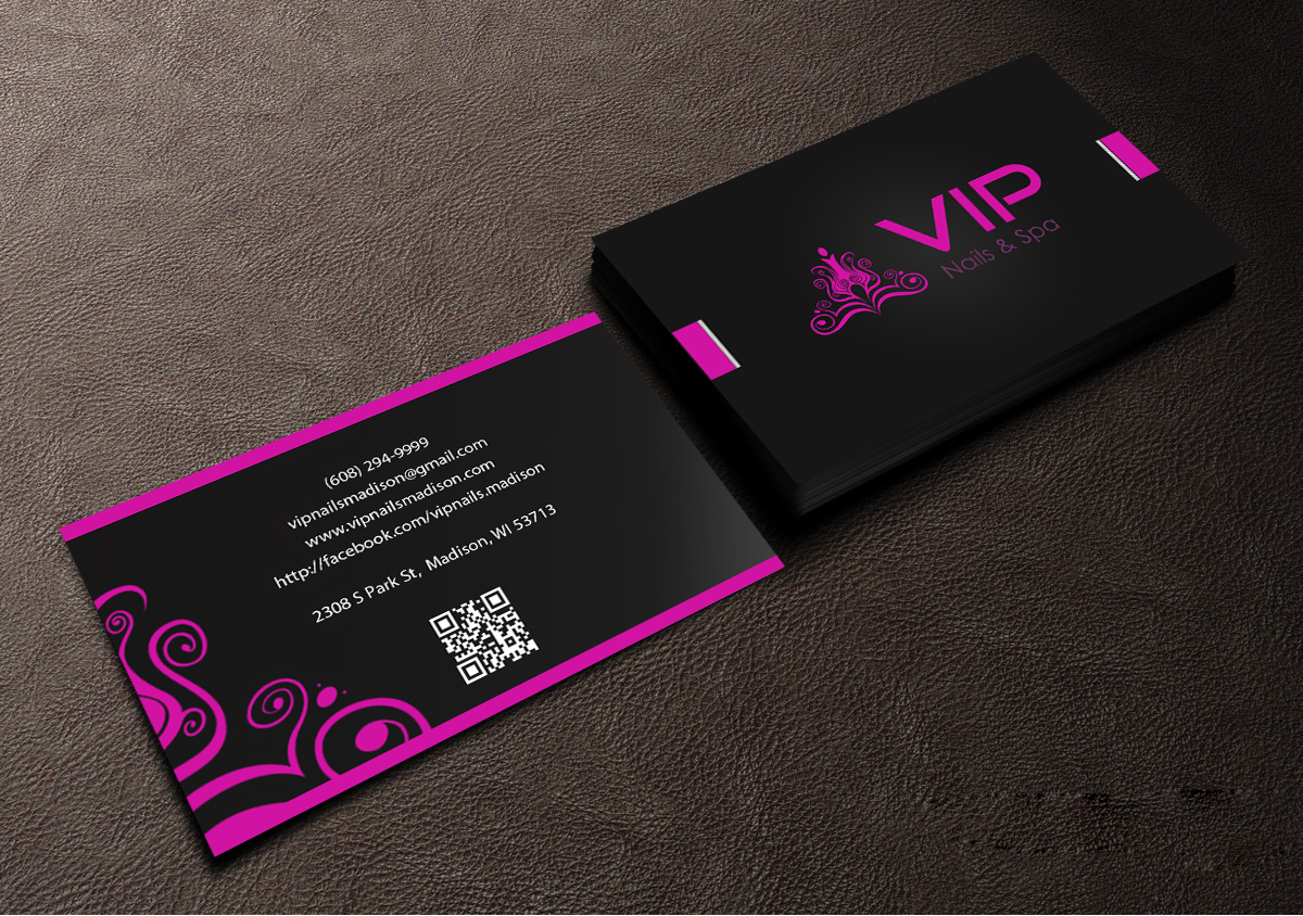 Elegant playful business business card design for vip nails spa business card design by creations box 2015 for vip nails spa design 8515107 colourmoves