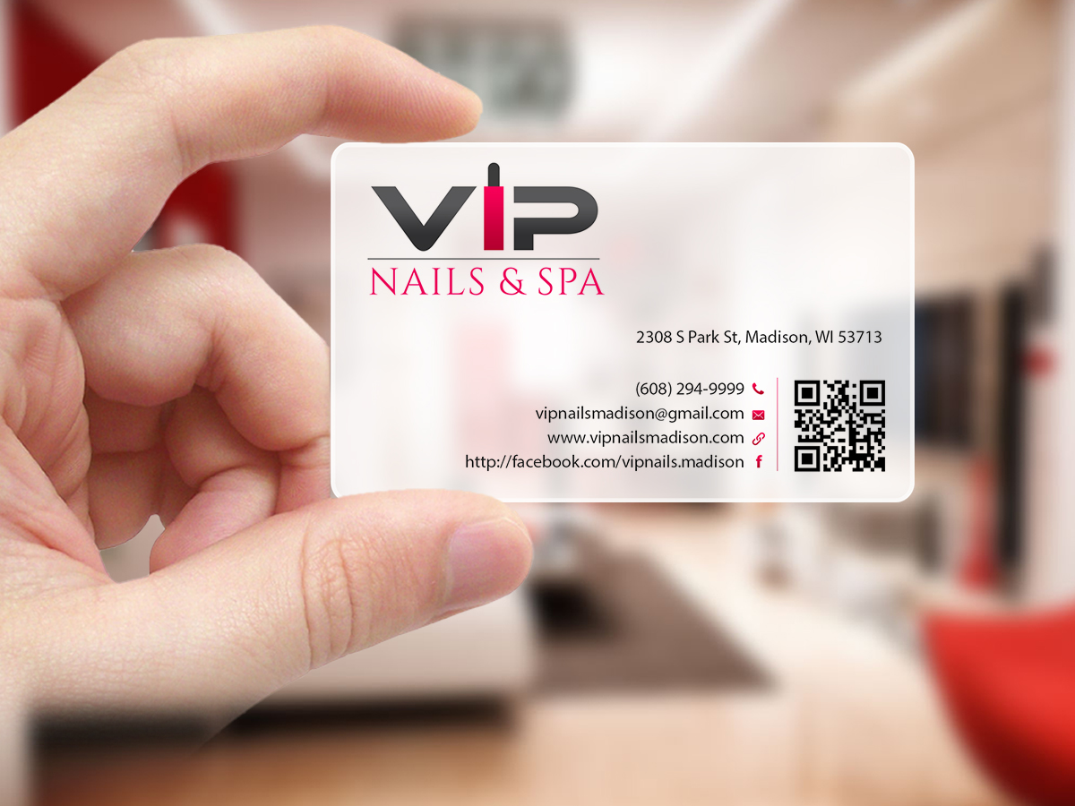 Elegant playful business business card design for vip nails spa business card design by creations box 2015 for vip nails spa design 8515111 reheart Choice Image