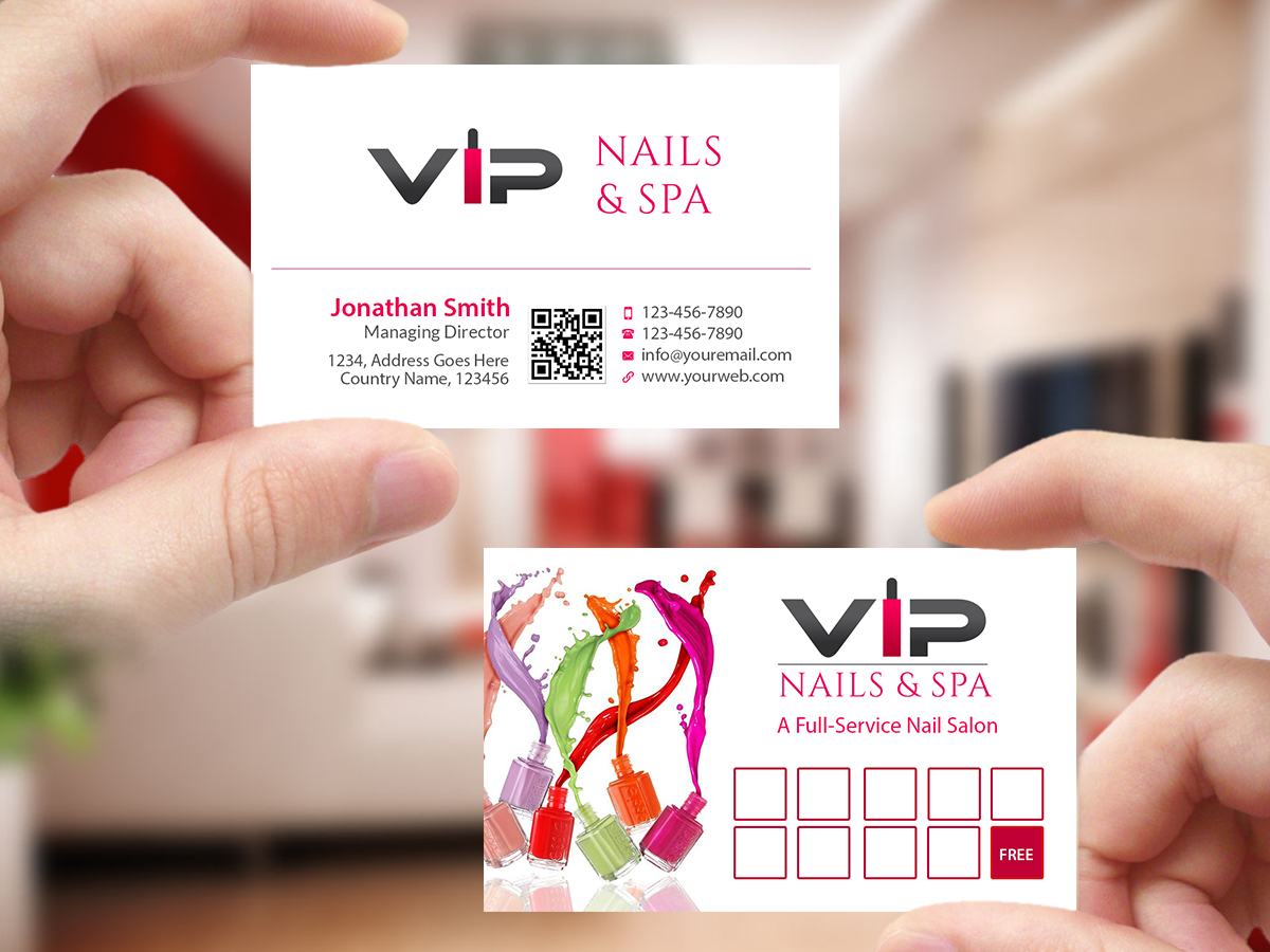 Elegant playful business business card design for vip nails spa business card design by creations box 2015 for vip nails spa design 8529489 reheart Image collections
