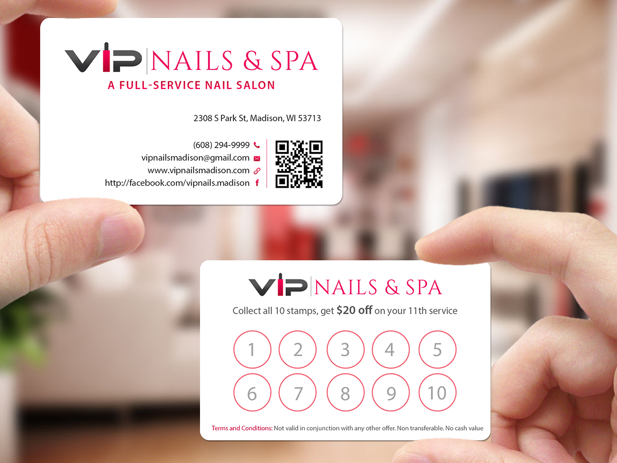 Elegant, Playful Business Card Design for VIP Nails & Spa by ...