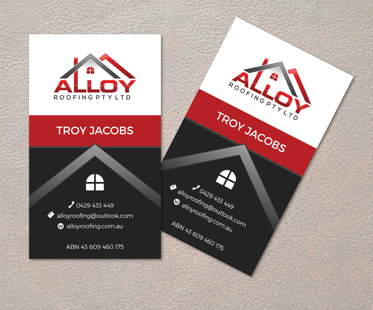 Modern professional business card design for alloy for Business cards roofing design
