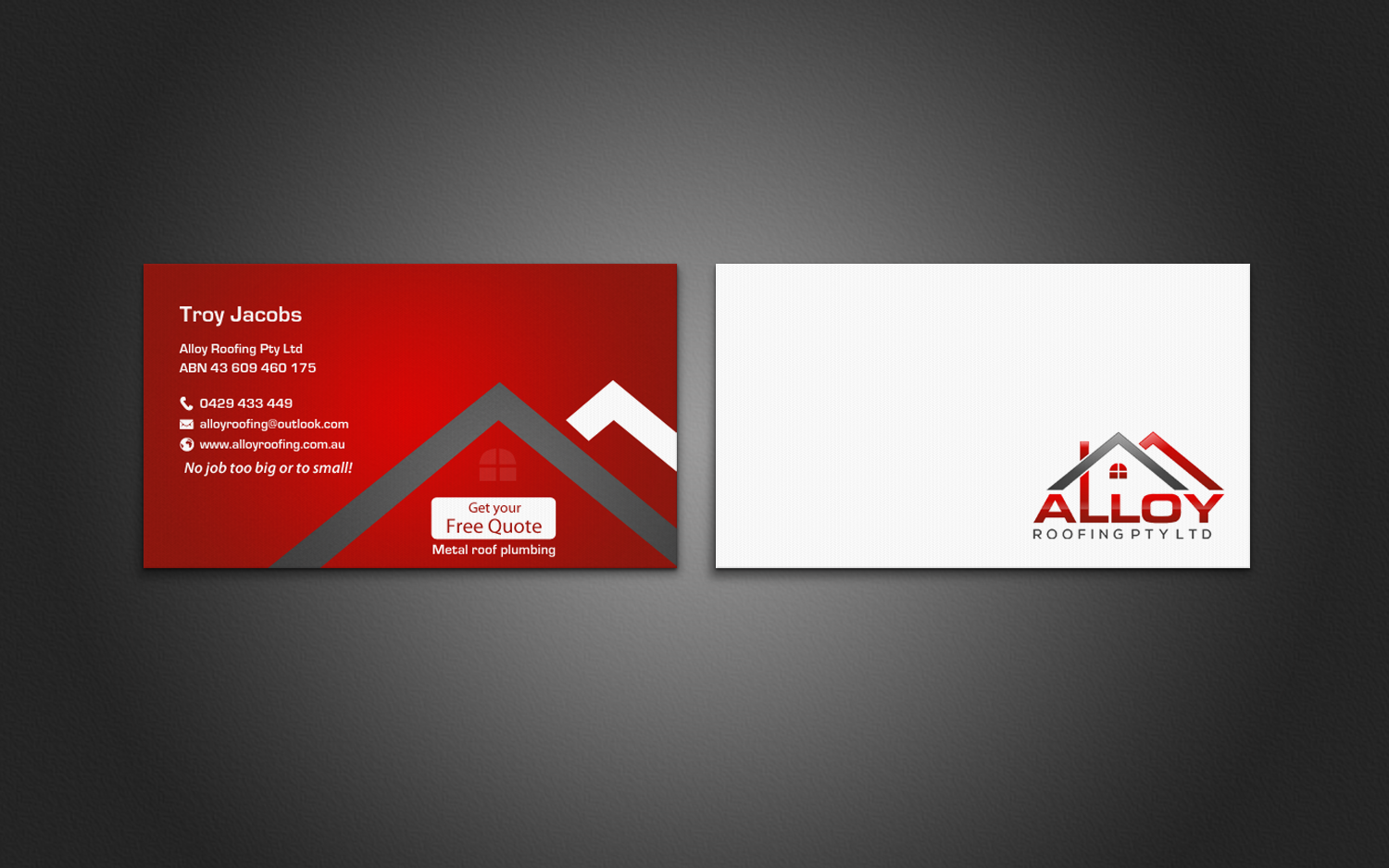 Modern professional business business card design for alloy business card design by chandrayaaneative for alloy roofing pty ltd design 8486064 reheart Image collections