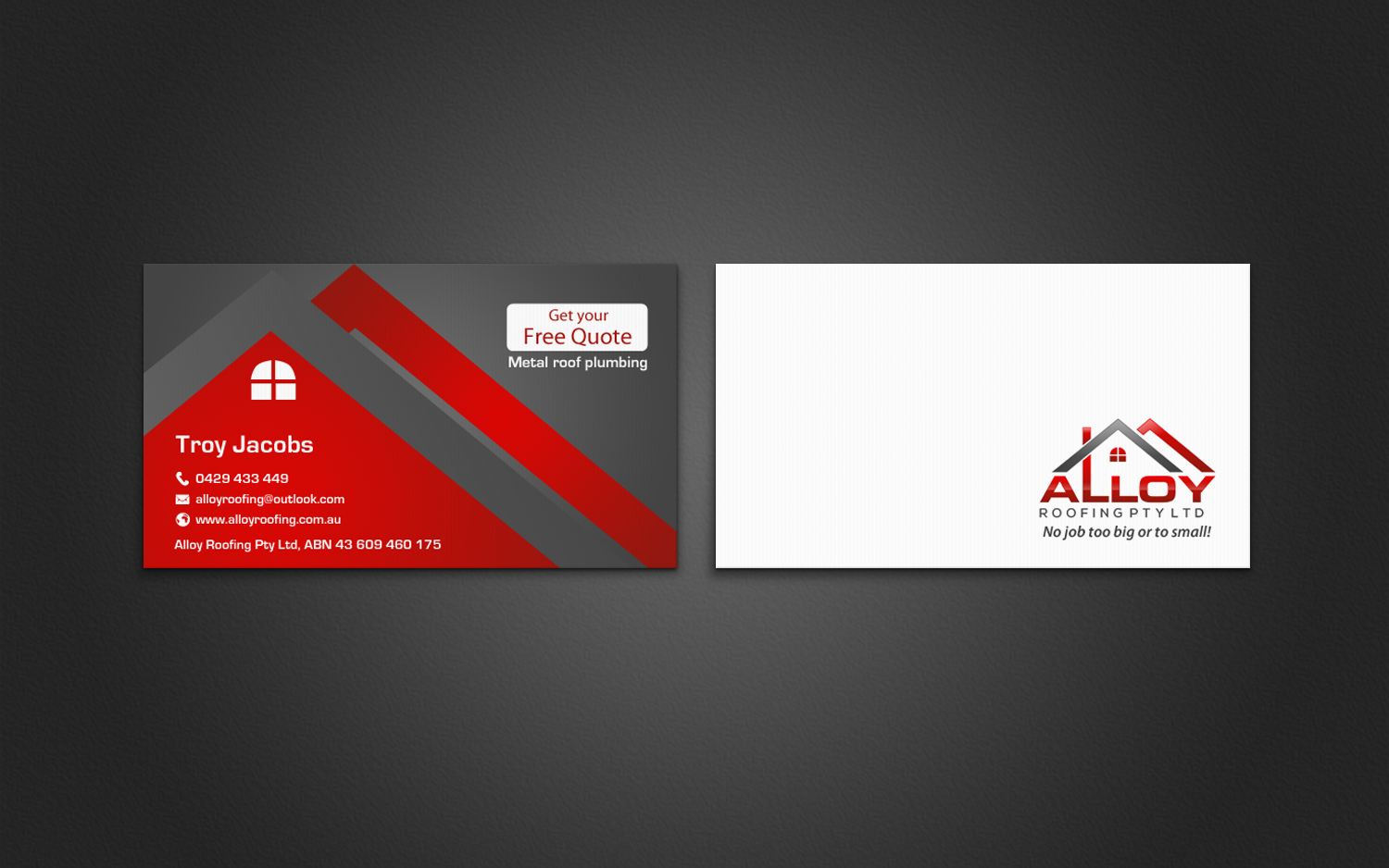 Business Card Design By Chandrayaan Creative For Alloy Roofing Pty Ltd 8486070